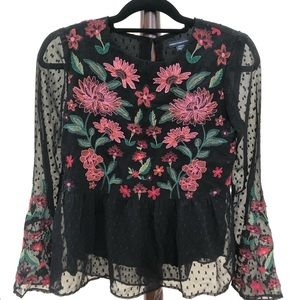 Black Embroidered Floral Dotted Blouse